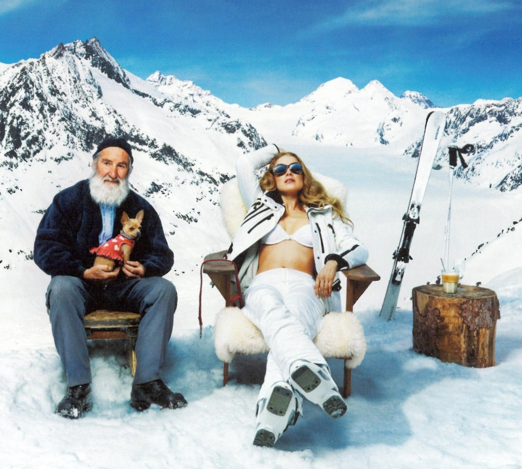 Rustic man and alluring blonde in the Swiss Alps