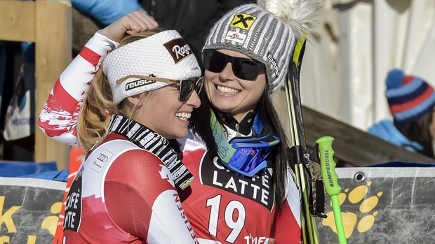 Lara Gut and Anna Fenninger come in 1st and 2nd in St Moritz