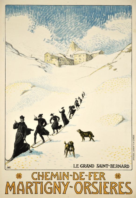 Monks skiing from the Hospice du Grand Saint-Bernard in Valais