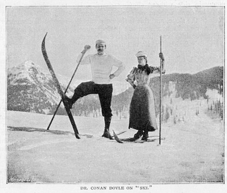 Conan Doyle on skis, with his wife