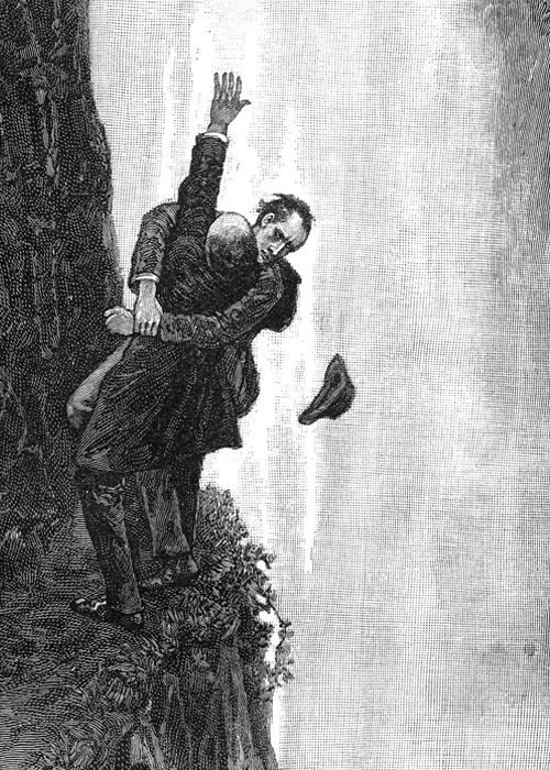 Sherlock Holmes in an illustration for the Strand magazine meets his fate at the Reichenbach Falls