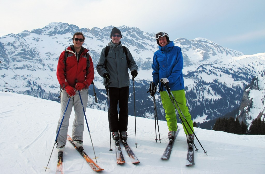 Nic with Belgian friends in Portes du Soleil
