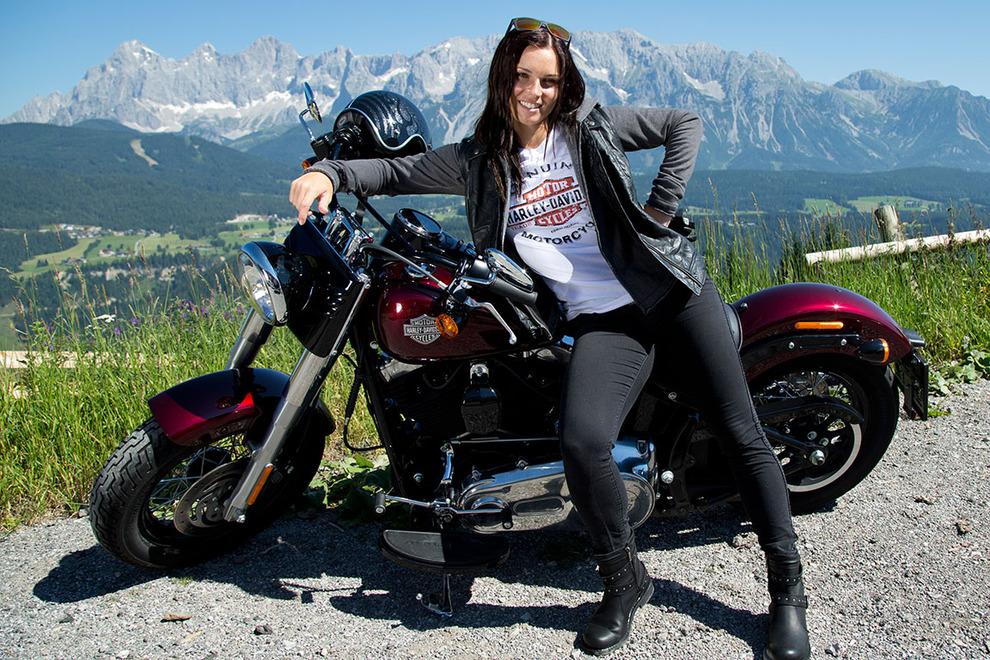 Anna Fenninger on Harley Davidson