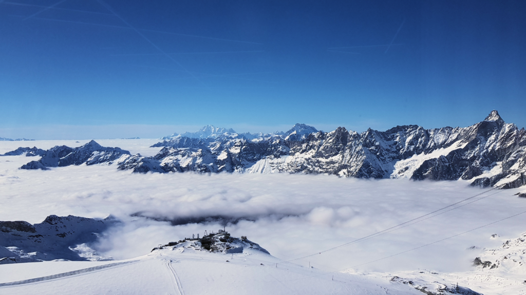View over Cervinia towards Mont Blanc from Klein Matterhorn