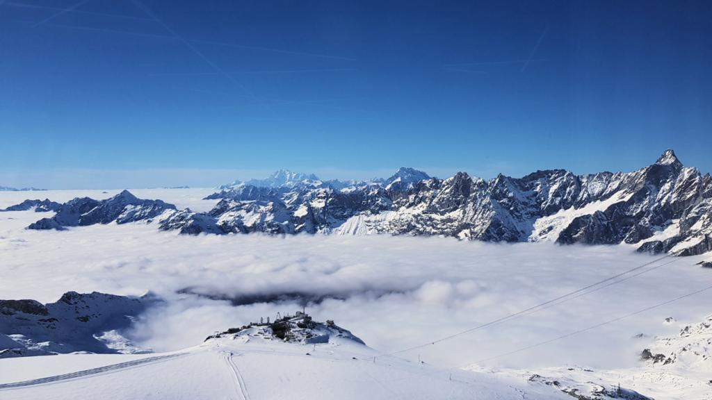 View over Cervinia towards Mont Blanc from Klein Matterhorn