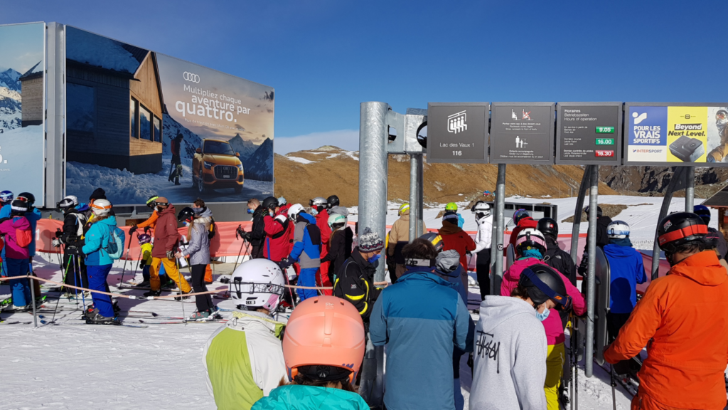 Lift queue at Verbier