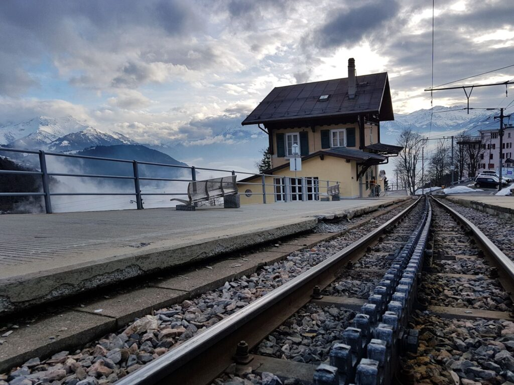 Leysin-Village - one of the narrow gauge cog railway stations in Leysin.