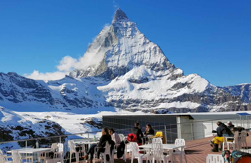 Eating at Trockener Steg under the Matterhorn