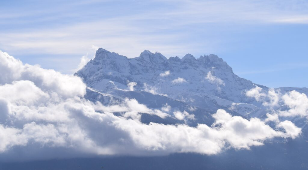 View of les Dents du Midi from Aigle. Copyright Nic Oatridge.