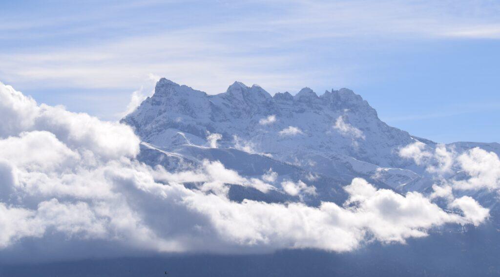 View of les Dents du Midi from Aigle. Copyright Nic Oatridge.