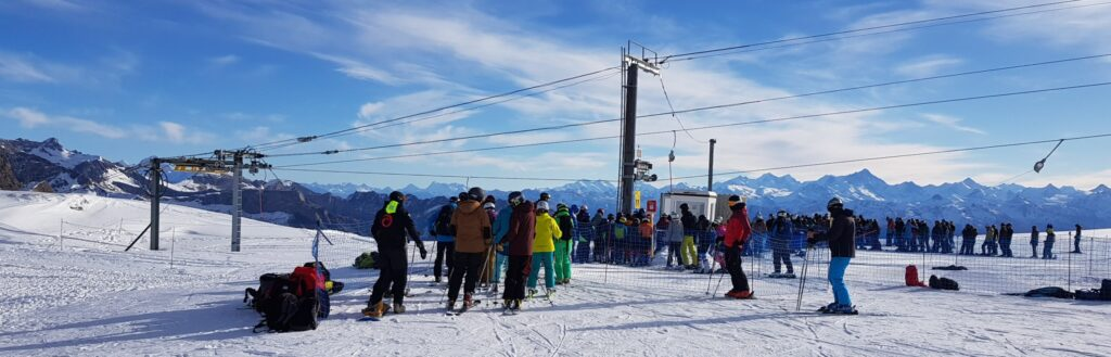Queues for a T-bar below Dôme