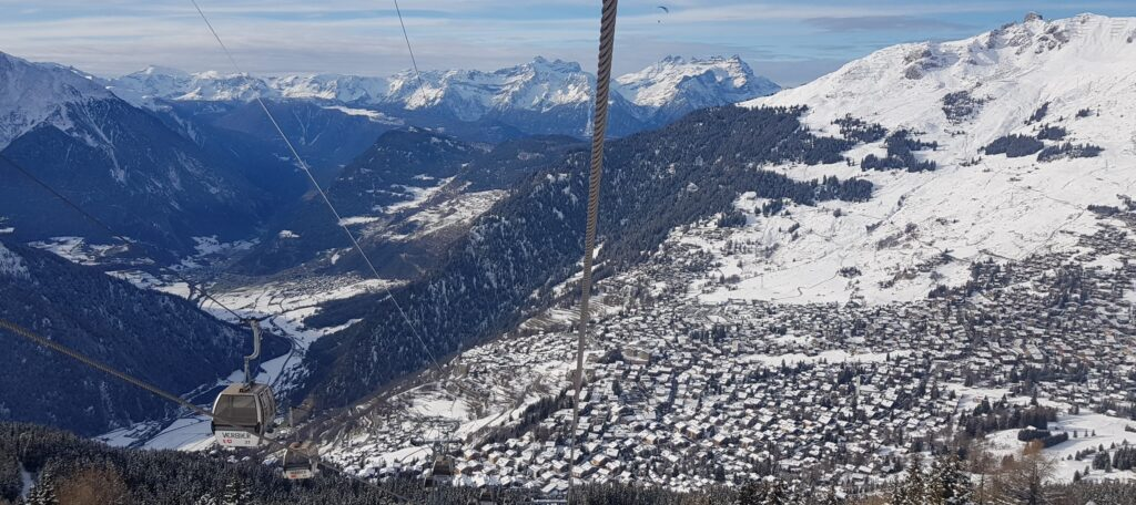 Verbier seen from the gondola to Les Ruinettes 8th December 2020.