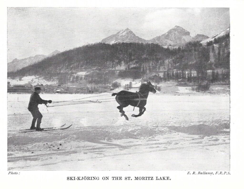 Skijoring on the lake at St Moritz 1925