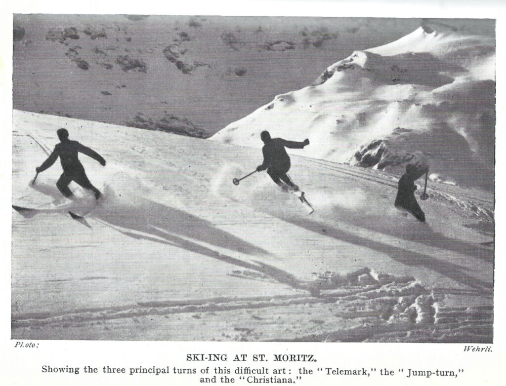 Skiers demonstrate Telemark, Jump Turn and Christiana in St Moritz 1925